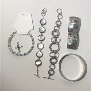 Lot of five opal and silver tone bracelets